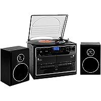 auna 388-BT Cadena estéreo con Tocadiscos • Tracción por correa • Bluetooth • 2 altavoces • Radio • Reproductor CD MP3 • Casete • USB • SD • Digitalizador • Mando • Negro