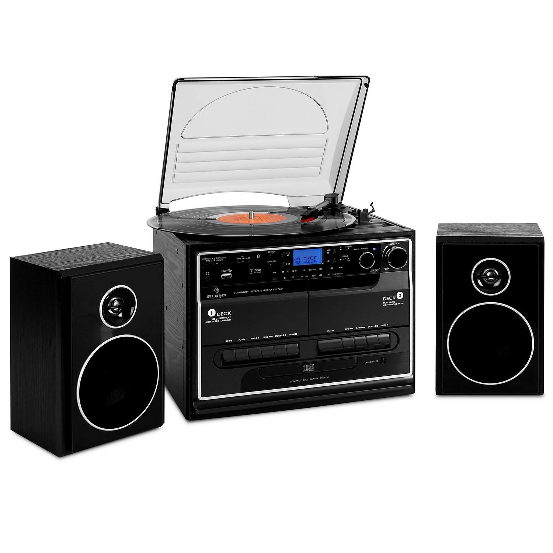 Auna BT Cadena Estéreo Tocadiscos Cassette Bluetooth altavoces doble reproductor cassette USB