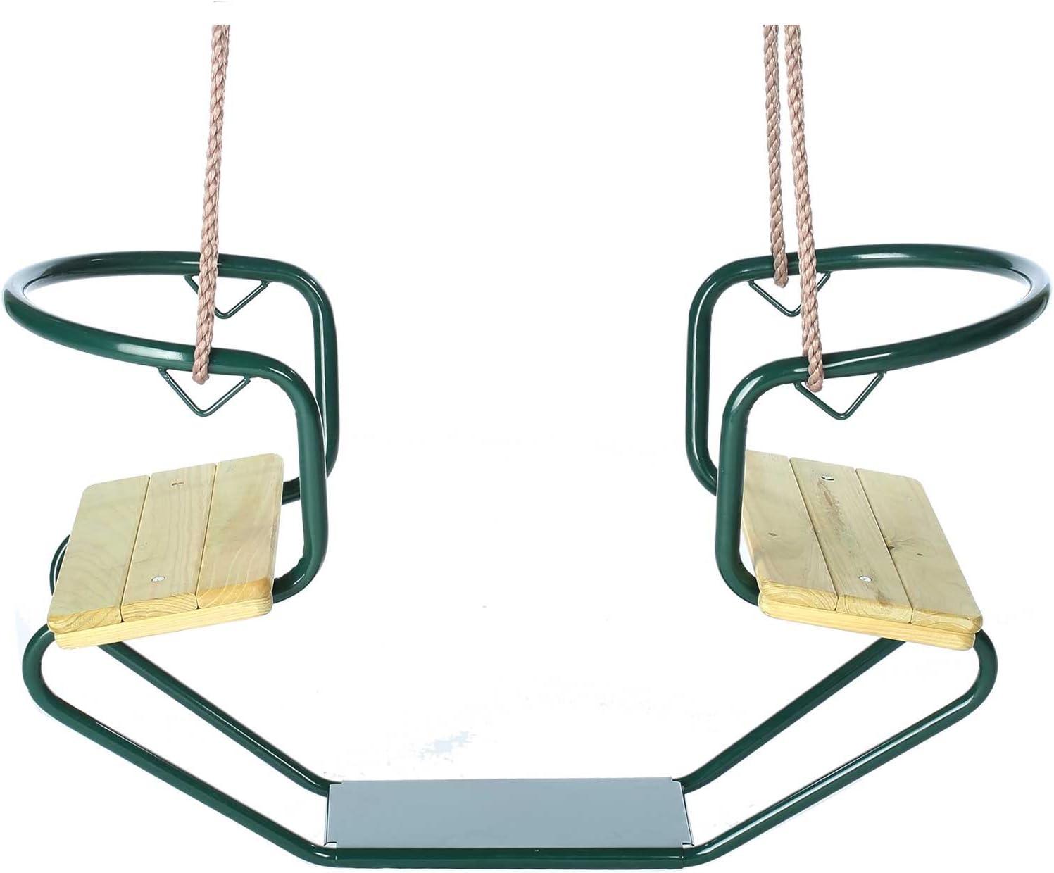 Columpio Infantil Doble góndola, Metal, Verde, Exterior