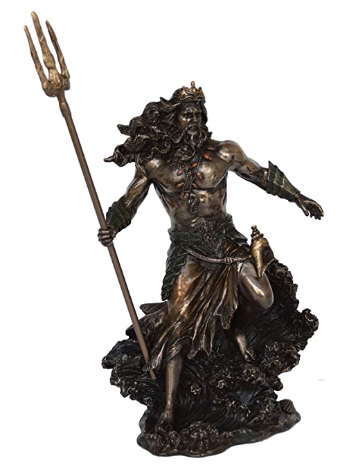 Talos Artifacts God Poseidon Statue Neptune King Of The Sea Earthshaker Cold Cast Bronze Resin