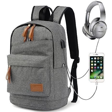 Myhozee Mochila Escolares Mochila Portátil 15,6 Pulgadas con Puerto de Carga USB Mochila Ordenador portátil: Amazon.es: Electrónica