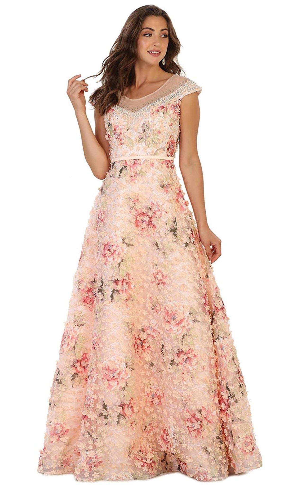 0c9c5a1283e0 May Queen RQ7554 Cap Sleeve Floral Embellished A-line Evening Gown in Peach  .