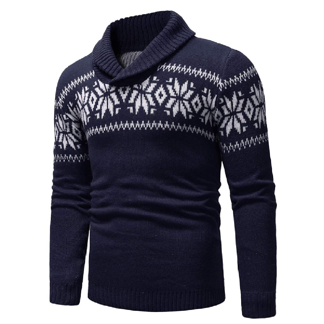 YUNY Mens Knit Crewneck Pullover Fall /& Winter Lapel Snowflake Sweaters Navy Blue XL