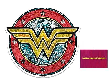 Amazoncom Fan Pack Wonder Woman Shield Logo 3d Effect Wall Art