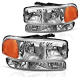 AUTOSAVER88 Compatible with 99-06 GMC Sierra 1500 2500 3500/00-06 GMC Yukon Headlight Assembly + Park/Signal Headlamp…