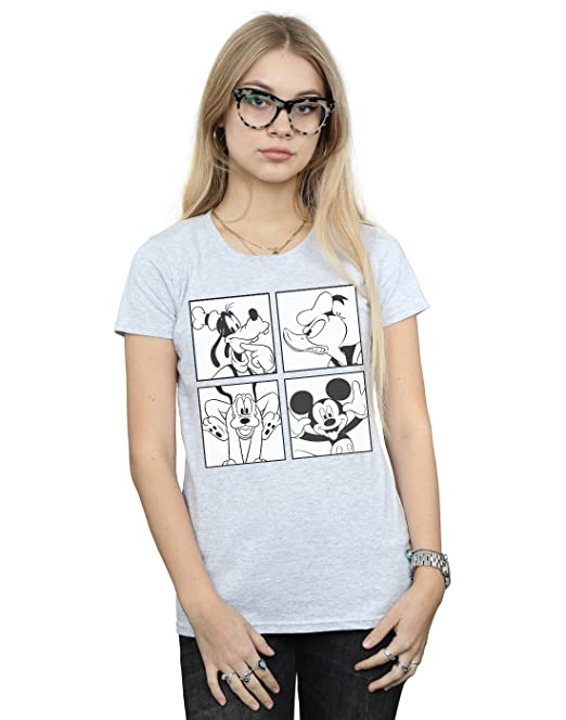 Disney Mujer Mickey, Donald, Goofy and Pluto Boxed Camiseta Deporte Gris Small