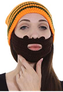 cc7069cabeb Simplicity Women Men s Crochet Ski Snowboarding Beanie Hat w Beard Wind  Guard
