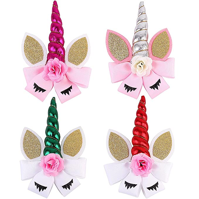 8 Elastics /& Ties Inch Unicorn Cheer Bows For Cheerleader Girls Rainbow Hair Of