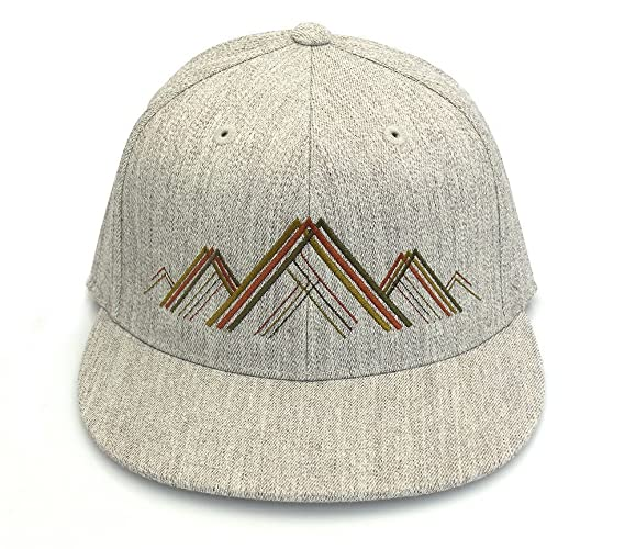 7c25150db2bee Image Unavailable. Image not available for. Color  Men s Hat - Mountain  Range Illustration - Men s Flat Bill and Curved Bill Fitted   Snapback