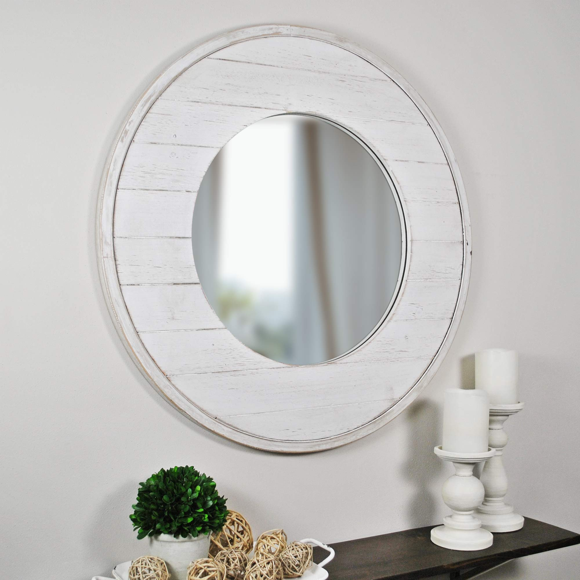 FirsTime & Co. 70021 Ellison Shiplap Accent Wall Mirror, 27'', Aged White