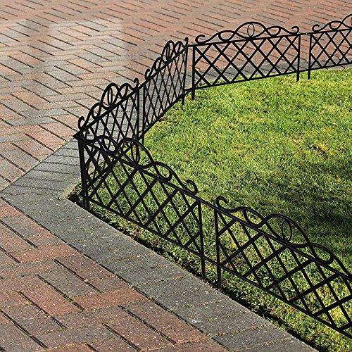 8 X Black Iron Effect Garden Flower Bed Lawn Edging Fence Panels:  Amazon.co.uk: Garden U0026 Outdoors