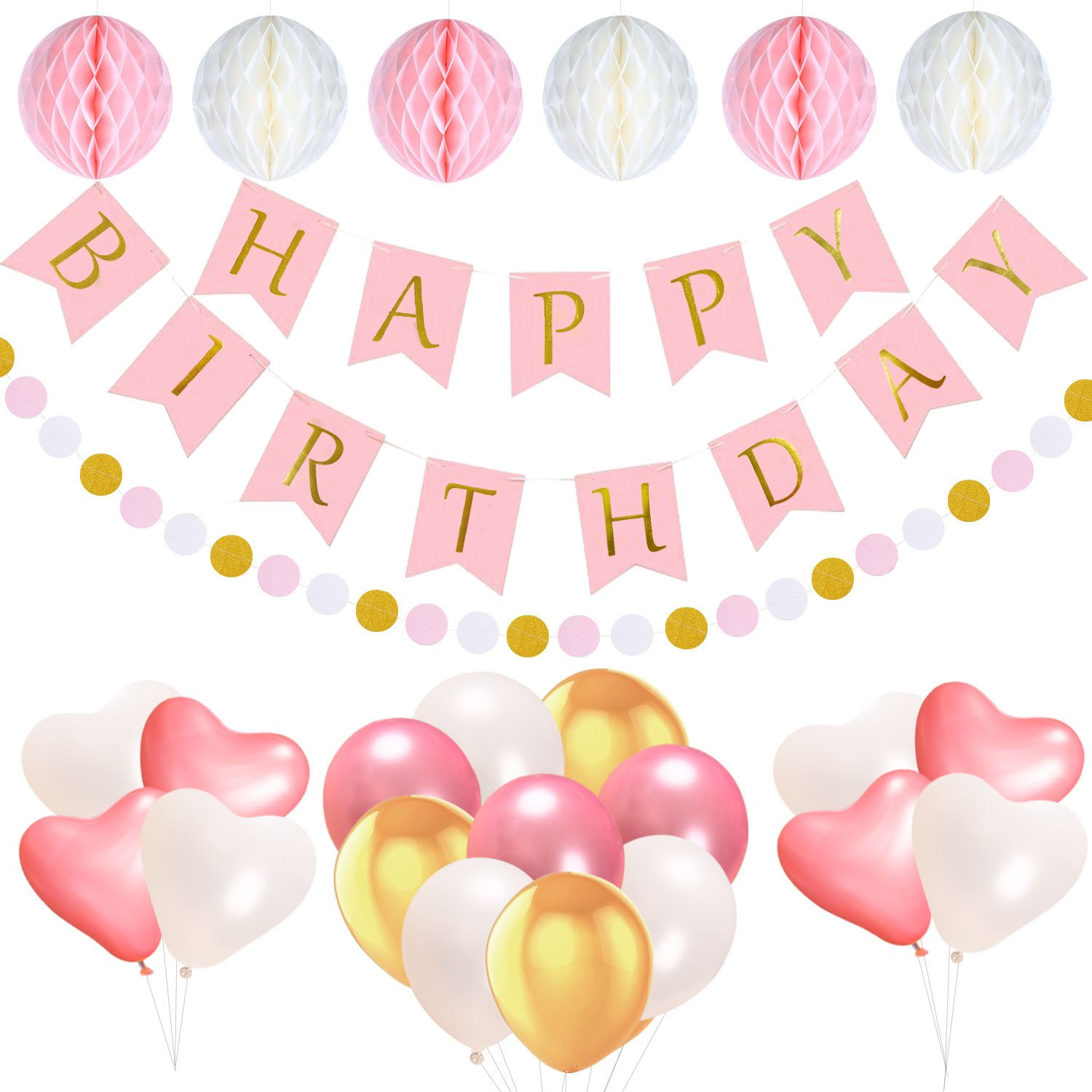 acetek Birthday Decorations Party Supplies,1 Happy Birthday Banner Flags,6 Pom Poms Flowers Kit, 17 Birthday Balloons,Pink and Gold Dot Garland for Kids Girl 1st Birthday Sign Baby Shower Party