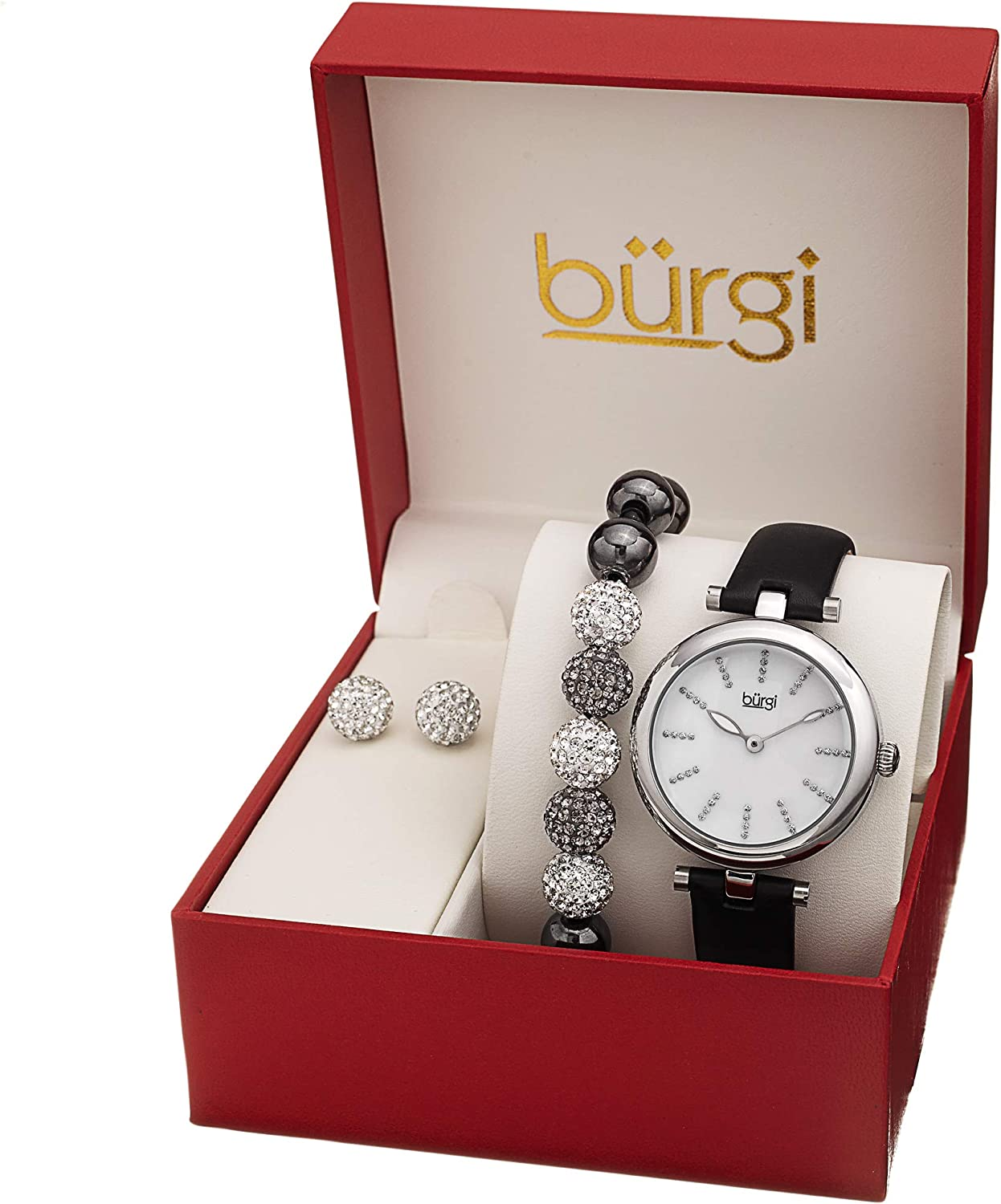 Burgi Ladies Watch Gift Set - Glitter Marker Watch with Leather Strap, Crystal Beaded Bracelet and Matching Crystal Earrings - Mother's Day Gift - BUR241 Silver/White/Black