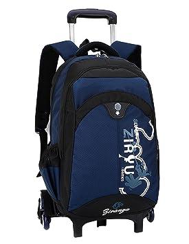 Moda niños extraíble MinegRong mochilas escolares con 6 ruedas Niño Subir escaleras Mochila Trolley para Niños Niñas Bookbag de gran capacidad,DEEP BLUE: ...