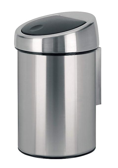 Brabantia Touch Bin - Cubo de Basura, 3 litros, Cubo Interior de plástico extraíble, Acero Mate Anti-Huellas