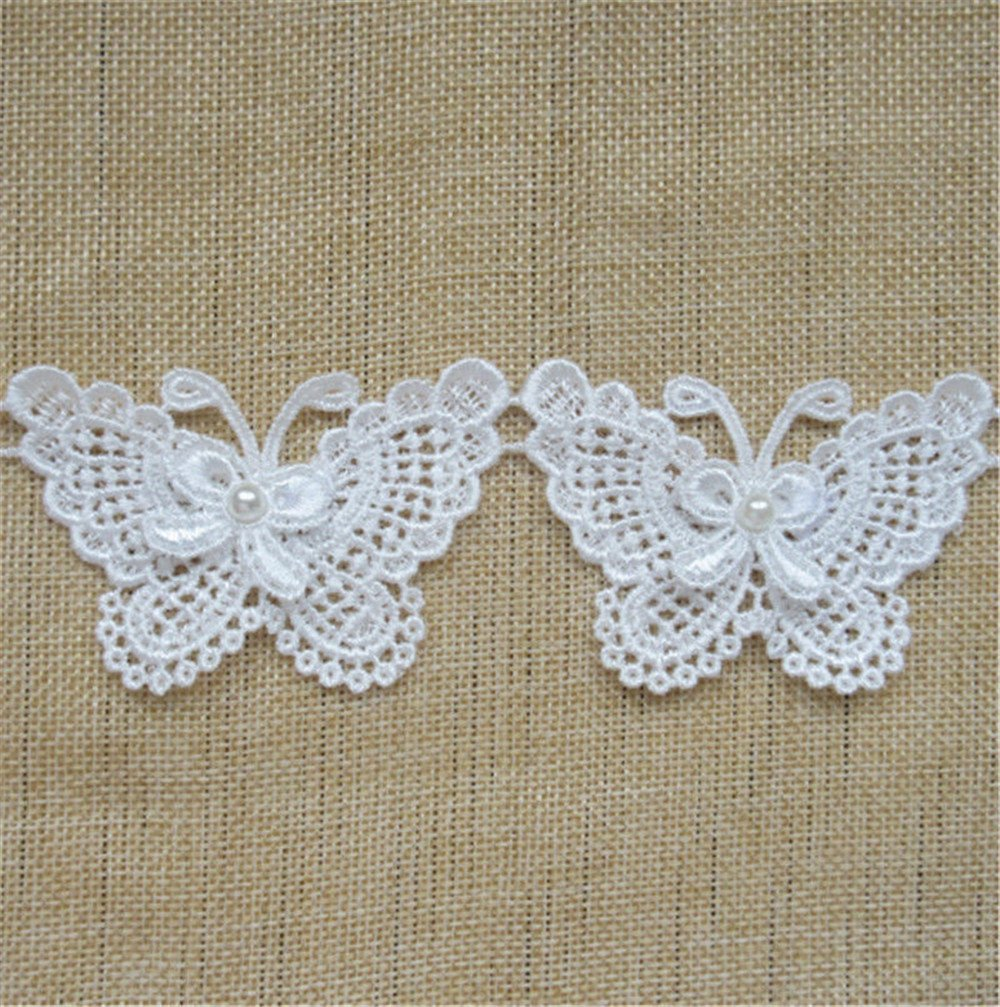 1 Meter Butterfly Bow Pearl Lace Edge Trim Ribbon 5 cm Width Vintage Style White Edging Trimmings Fabric Embroidered Applique Sewing Craft Wedding Dress Embellishment DIY Decor Clothes Embroidery Qiuda