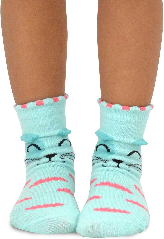 Kids Girls Cotton Fashion Fun Crew Socks 6 Pair Pack 6-8 Years, Cats Face Naartjie TeeHee