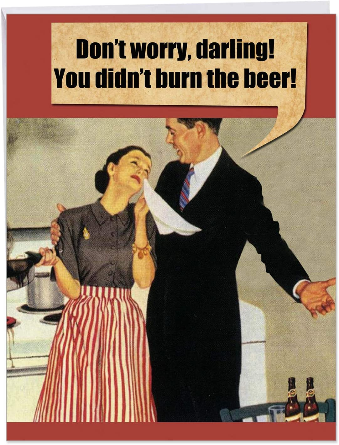Jumbo Burn the Beer Birthday Card' Greeting Card w/ Envelope 8.5 x 11 Inch - Classic, Vintage Inspired - Husband and Wife - Kitchen Burn, Fail - Stationery Set for Personalized Happy Bday Gift J9700 : Office Products
