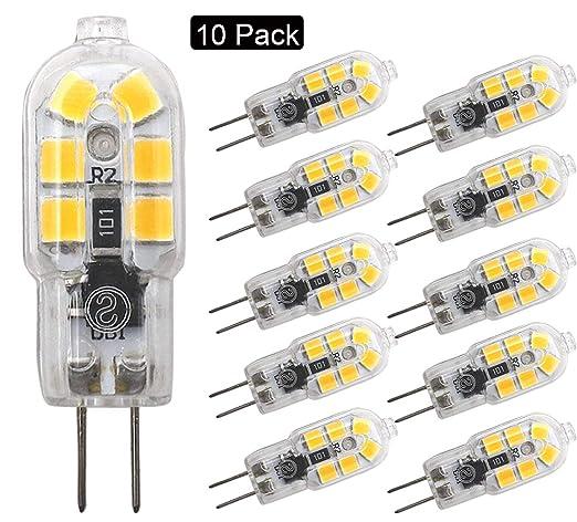 JCKing (paquete de 10) 2W G4 LED Lámpara 12 SMD 2835, CA DC