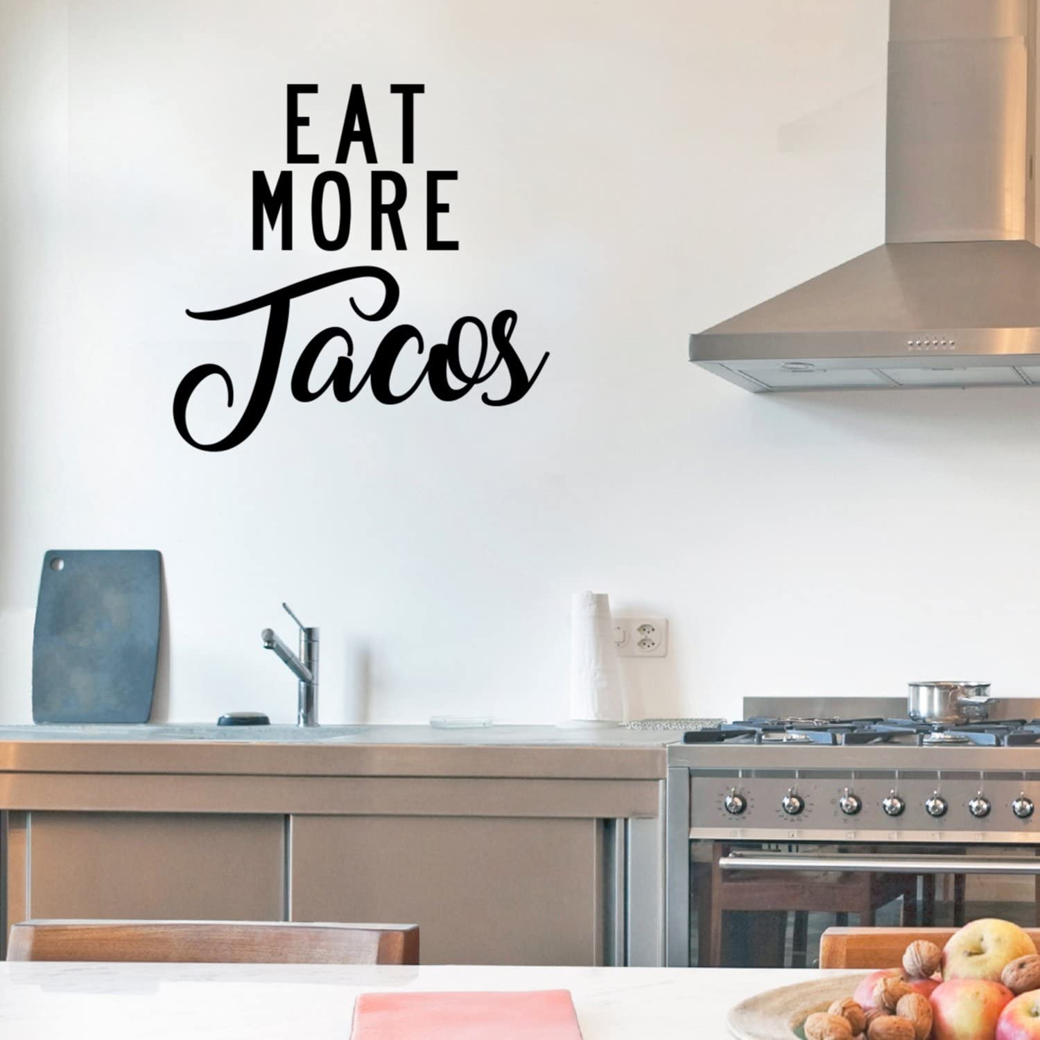 Amazon Com Eat More Tacos Funny Kitchen Quotes Wall Art Vinyl Decal 21 X Decals Quote Decor Stickers Product Name Home