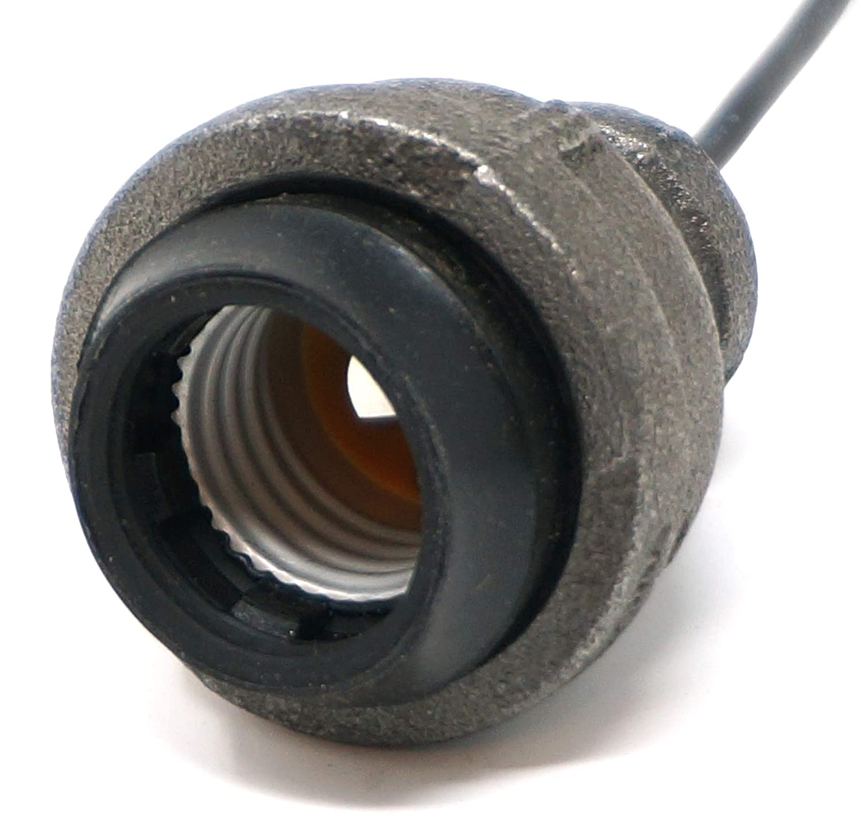 SteamLit Industrial Black Iron Pipe Lamp Socket w//Wire Leads 3//4 pipe