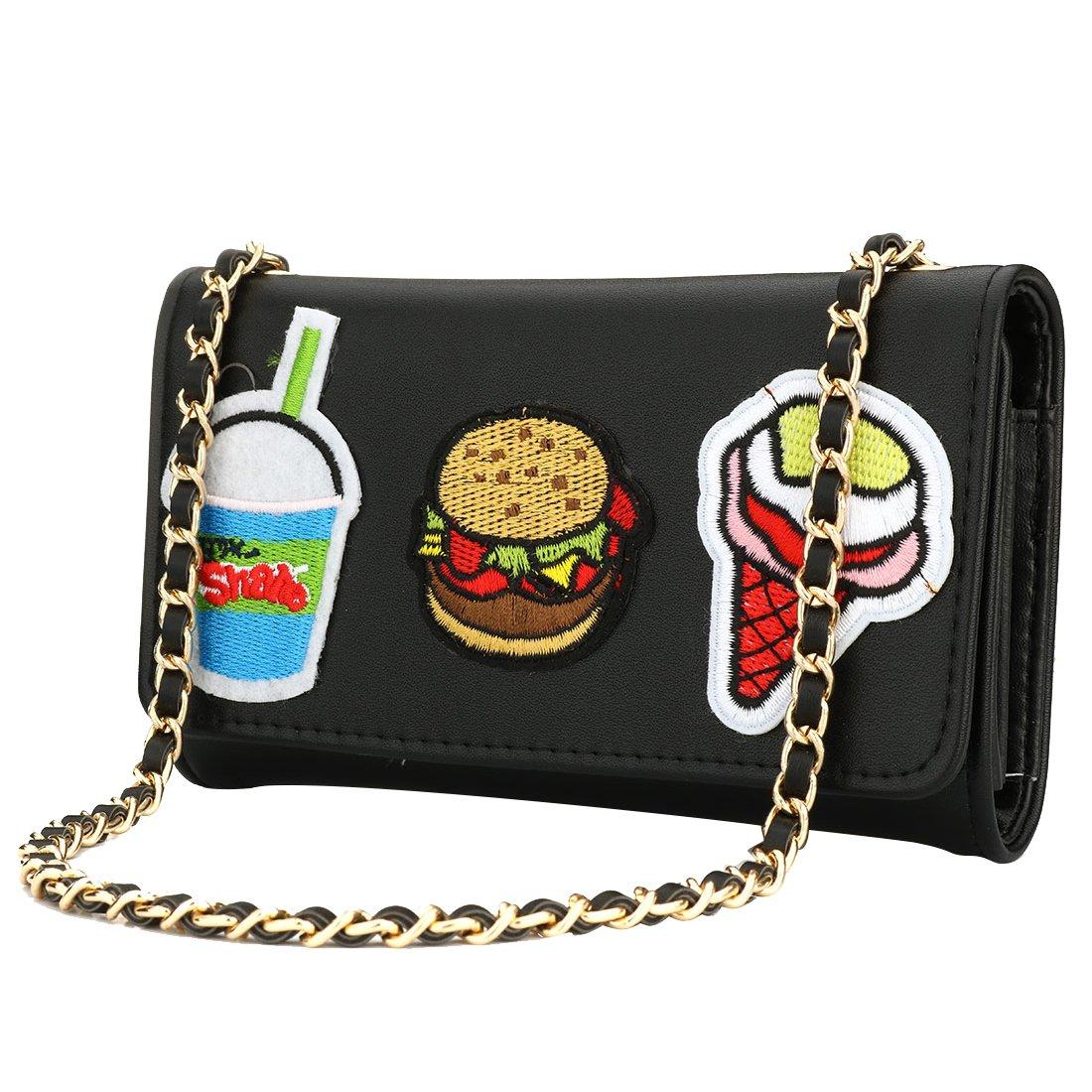 IBELLA Black Leather Evening Bag Cartoon Clutch Purse Wedding Party Prom Handbag with Crossbody Chain Strap