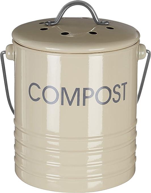 Jolitac K/üche Kompost Eimer 5L Komposteimer Kompostbeh/älter Bio M/ülleimer K/ücheneimer K/üchenabfalleimer f/ür Kompost aus Metall mit Deckel und 8 St/ück Aktivkohlefilter 19.5 x 21cm