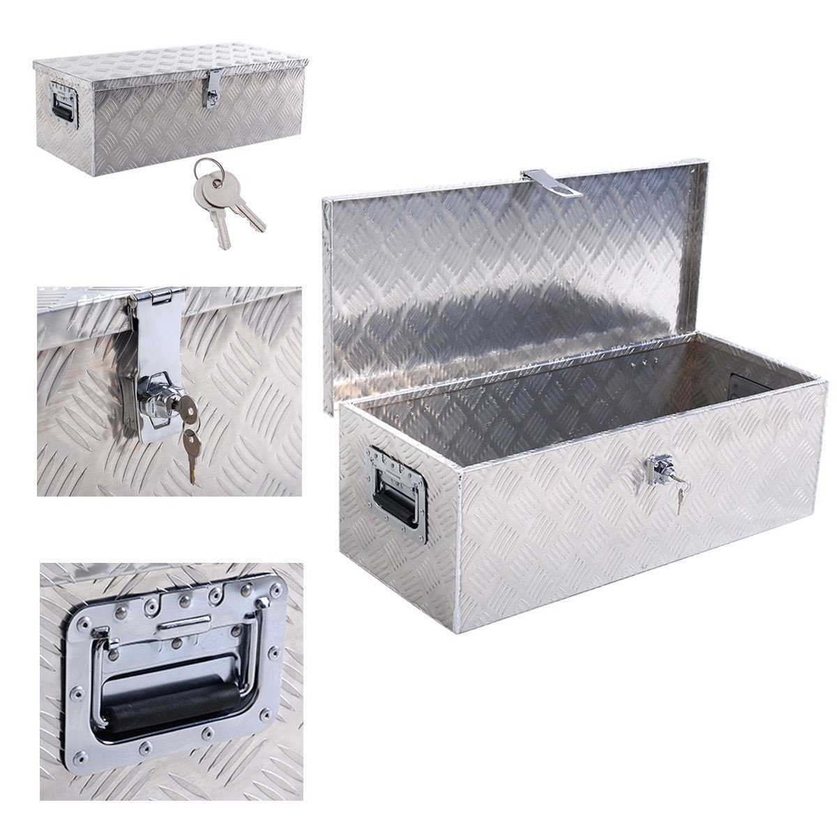 30''L Aluminum Truck Pickup Bed Trailer ATV Tongue Lockable Tool Box W/ Lock - By Choice Products