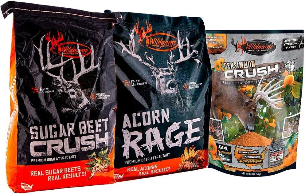 Acorn Rage Deer Attractant Mix 5 Lb Bag with Sugar Beet Crush Deer Attractant 15 Lbs Bag and Persimmon Crush Deer Attractant Mix 5 Lb Bag
