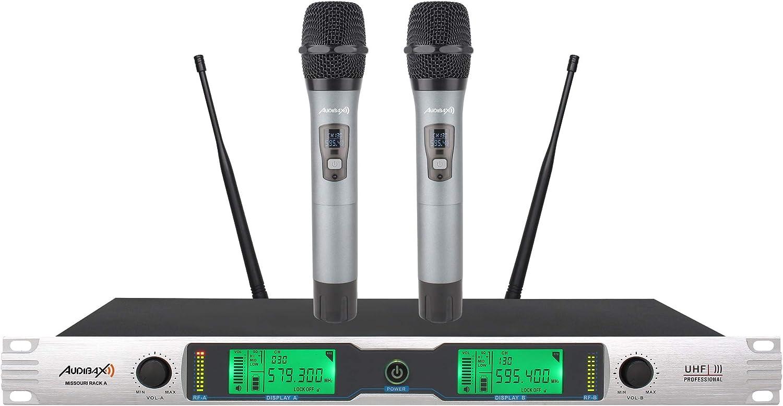 Audibax Missouri Rack B Micrófono Inalámbrico Profesional UHF Doble de Mano Rack 19