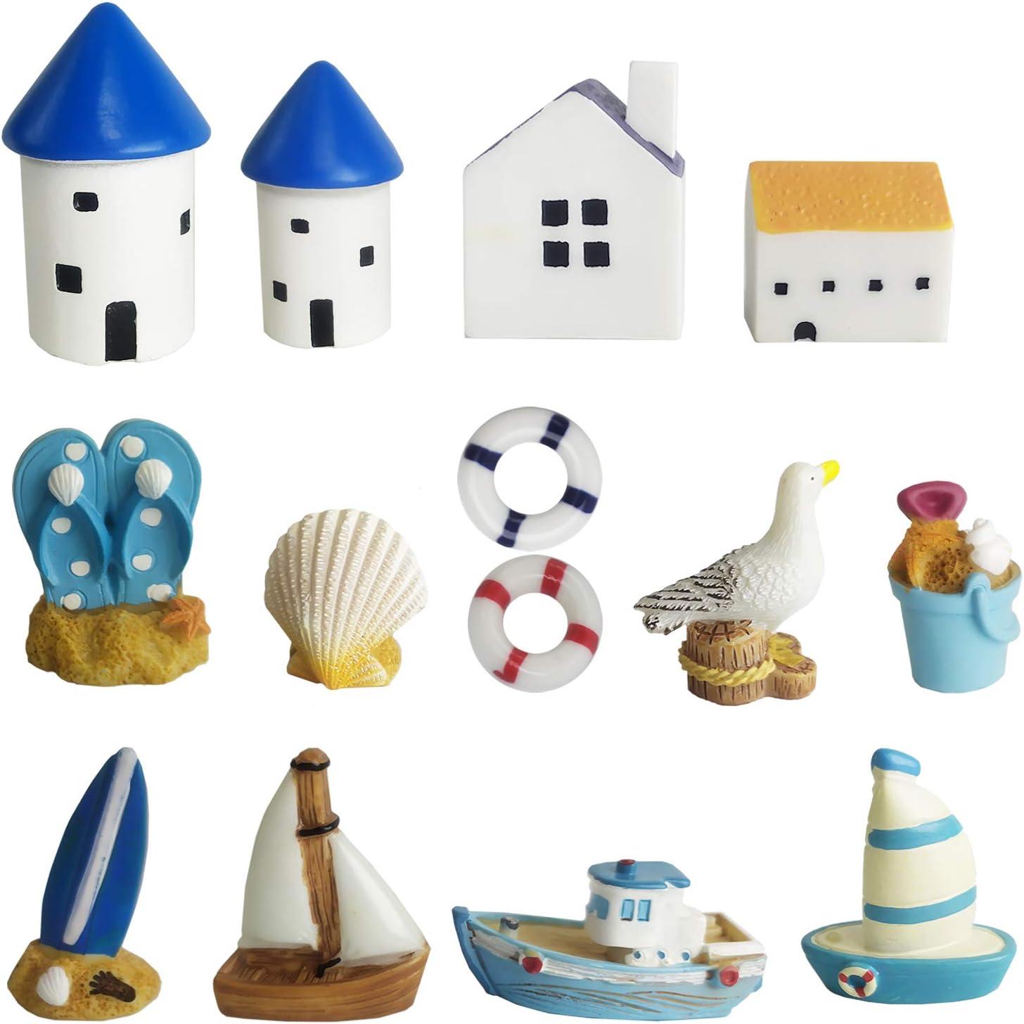 BEZALEL 14pcs Beach Style Miniature Fairy Garden Accessories - DIY Fairy Garden Kit for Adults Including Beach Fairy Garden House,Boat,Swim Ring,Shell,Seagull,etc -Mini Fairy Garden Accessories Set