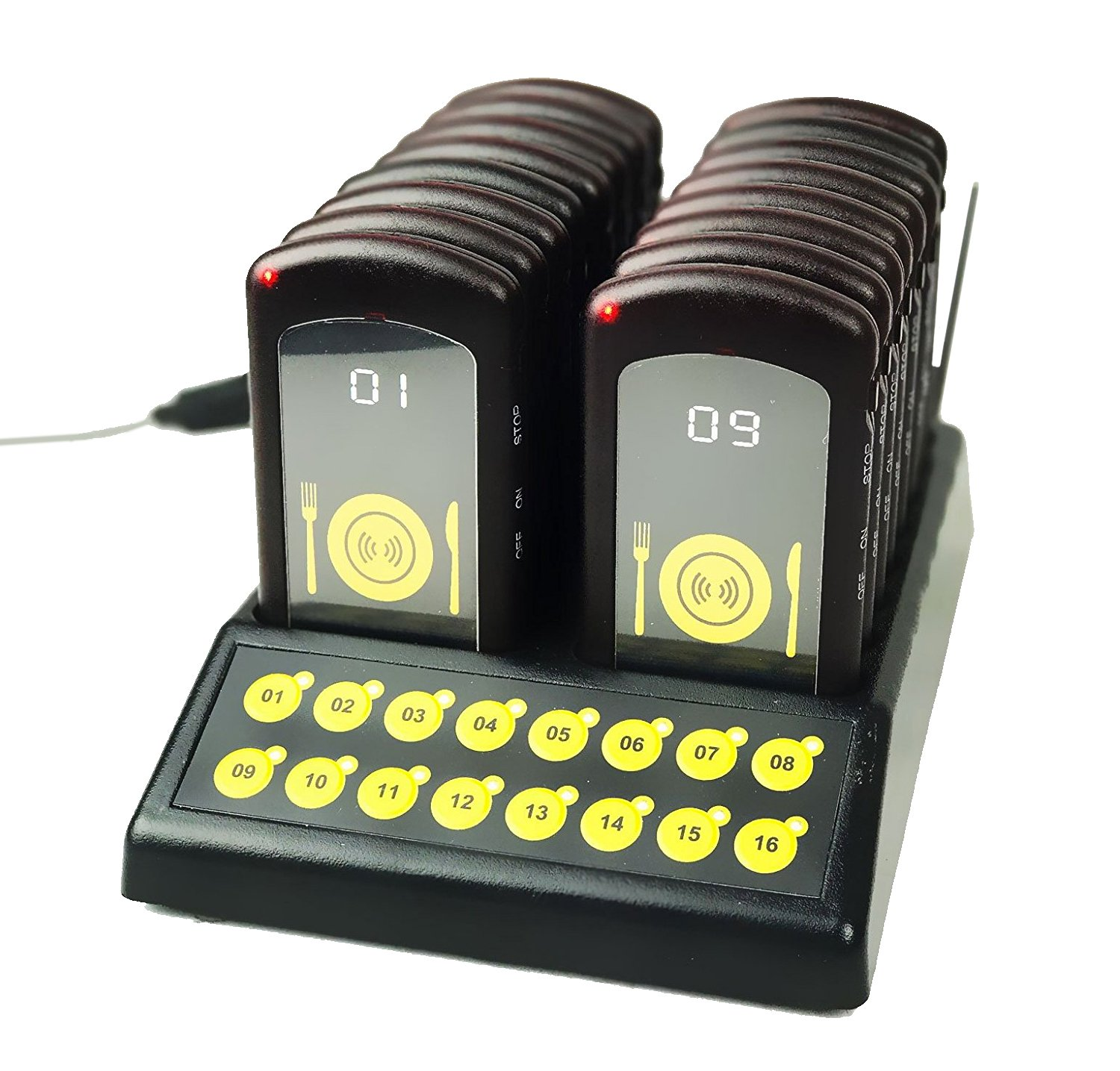 16 Restaurant Retail Call Coaster Rechargeable Pagers/Guest Waiting Pager/Wireless Portable Paging System with Charging Dock and Transmitter Angel Canada
