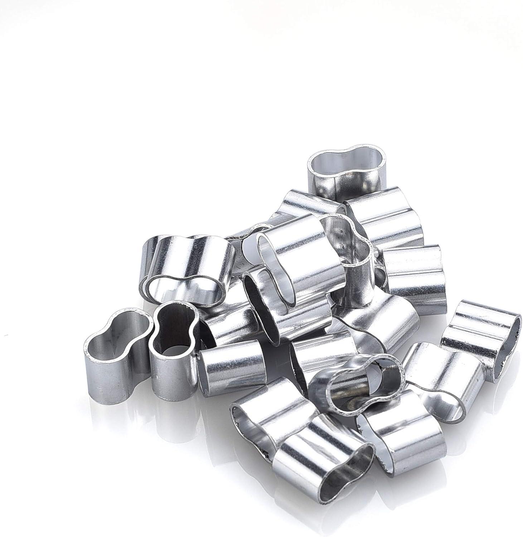 cuerda de lona Fuxton inoxidable 25 abrazaderas de cable profesionales de aluminio para cuerda de extensi/ón cuerda de goma