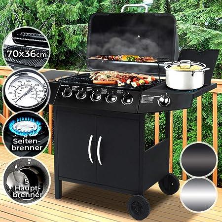 Gasgrill Grillwagen Gas Grill BBQ 5+1 Seitenkocher Thermometer TÜV Gartengrill