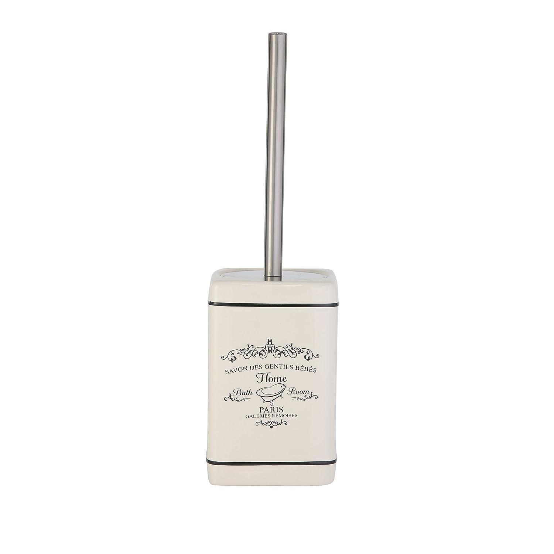 'Axentia–Escobillero de WC Lisboa, accesorios de baño, WC de accesorios de cerámica y metal, cepillo y soporte como baño accesorio, depósito con frontal de impresión, aprox. 10,5x 10,5x 37cm, color blanco 122152