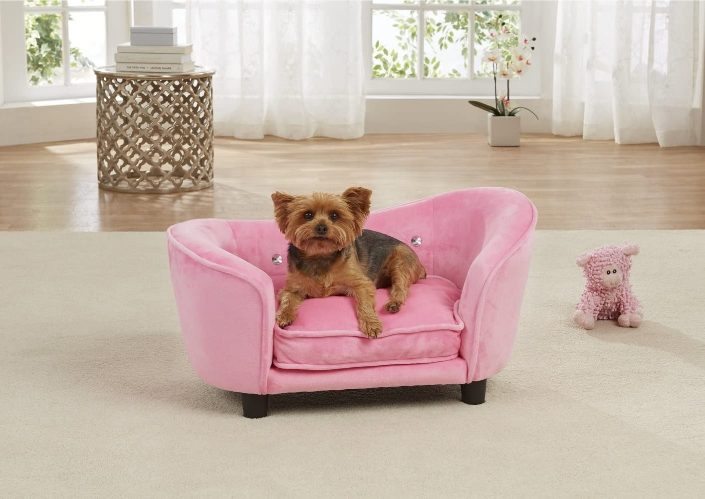 Enchanted Home Pet Ultra Plush Snuggle Bed in Light Pink : Pet Supplies