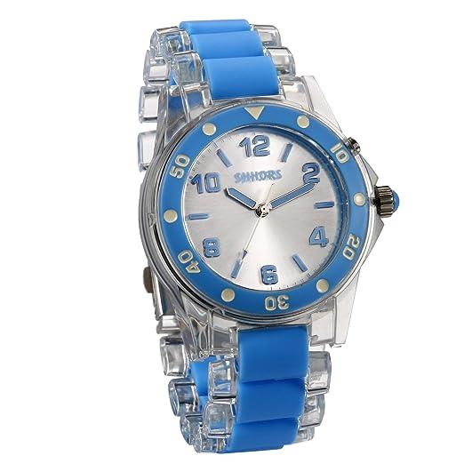 JewelryWe Reloj de Colores Que Brilla Original Reloj Transparente para Hombre Mujer, Azul Reloj de Verano Cuarzo con Luces, Buen Regalo 2017: Amazon.es: ...