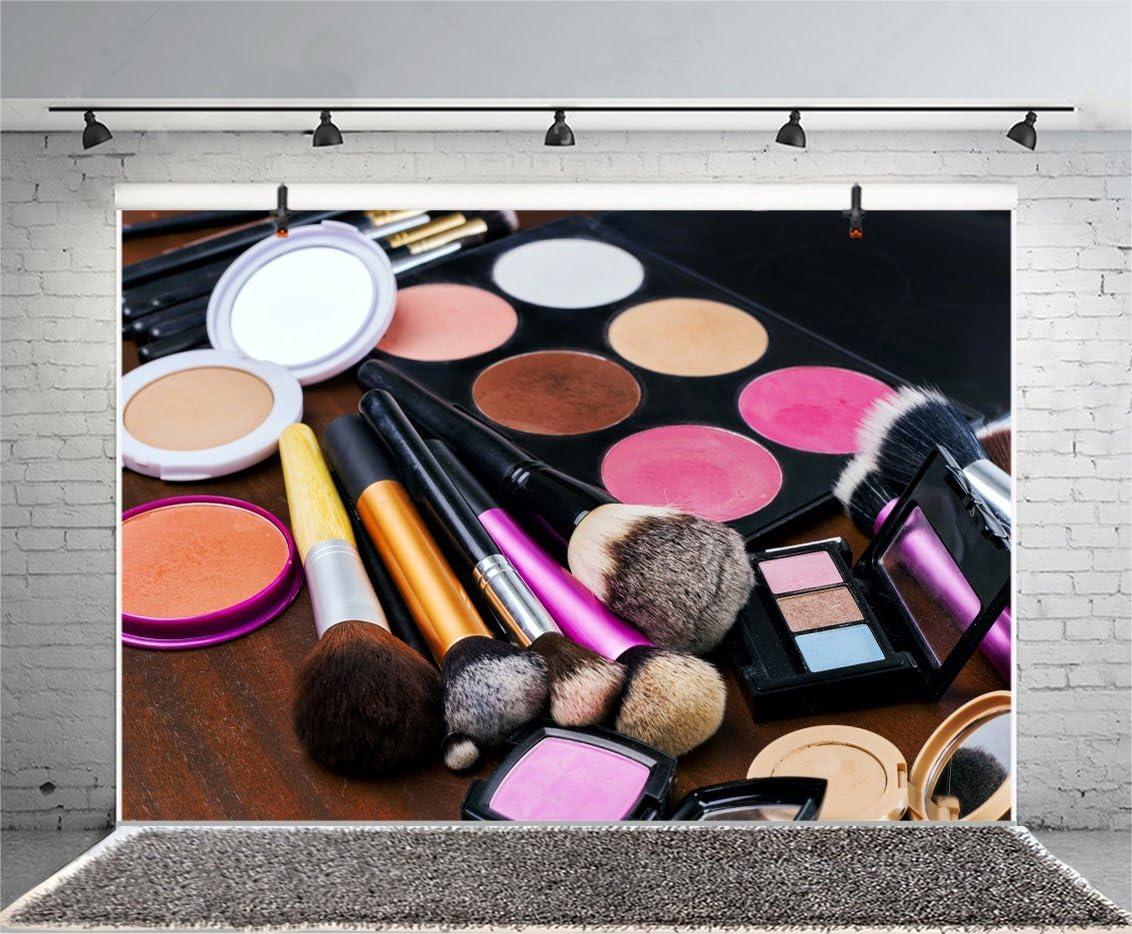 Leyiyi 5x3ft Photography Backdrop Make-up Vlogger Backdrop Henna Party Lipsticks Eyeshadow Brush Blusher Eyebrow Pencil Bridal Shower Blogger Broadcaster Stars Photo Portrait Vinyl Studio Video Prop