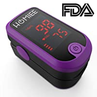 Oxygen Saturation Monitor, HOMIEE Pulse Oximeter Fingertip Blood Oxygen Monitor SpO2 Oximeter 2 Directions LED Display, Auto-Sleep Function, Silicone Cover, Carrying Bag & Batteries (Purple)