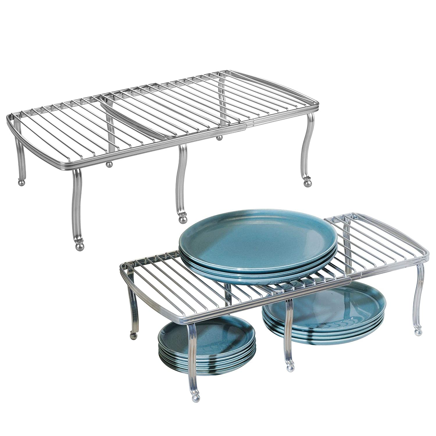 mDesign Adjustable, Expandable Wire Metal Kitchen Cabinet, Pantry, Countertop Organizer Storage Shelf - for Dishes, Dinnerware, Cookware, Spices, Mugs, Cups, Canned Food, 4 Pieces - Silver