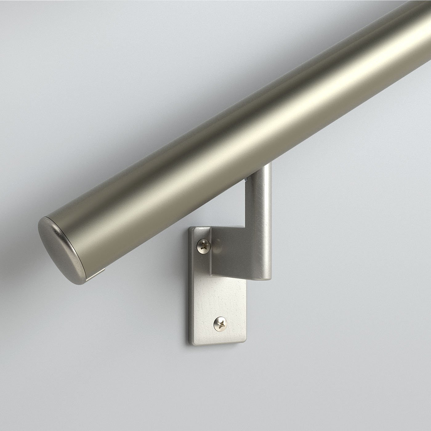 6ft. Handrail - Champagne Anodized Aluminum with 4 Matte Nickel Wall Brackets and Endcaps - 1.6'' Round - Complete Kit