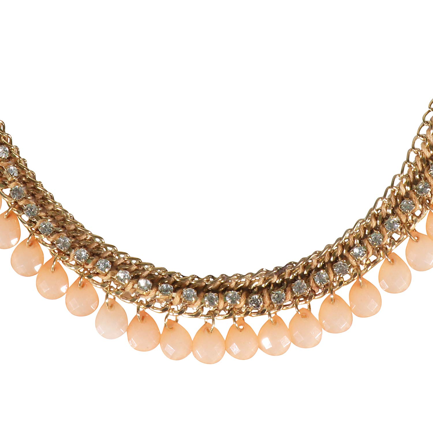 ASHIS Collection Rhinestone Peach Beautiful Trendy Necklace for Women.