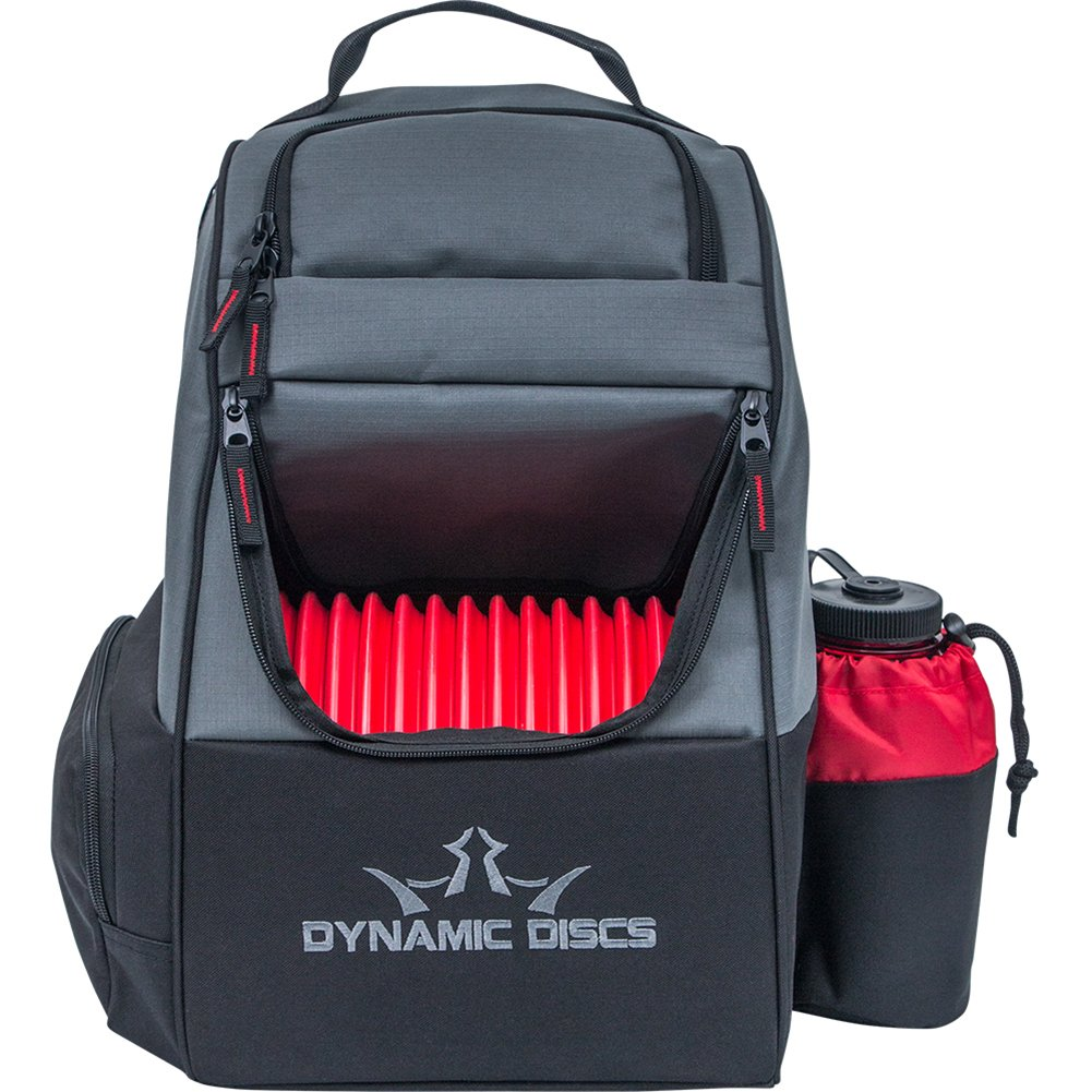 Dynamic Discs Trooper Disc Golf Bag - Fits Up to 18+ Discs and Four Putters - Introductory Disc Golf Backpack - Lightweight and Durable (Black/Red)
