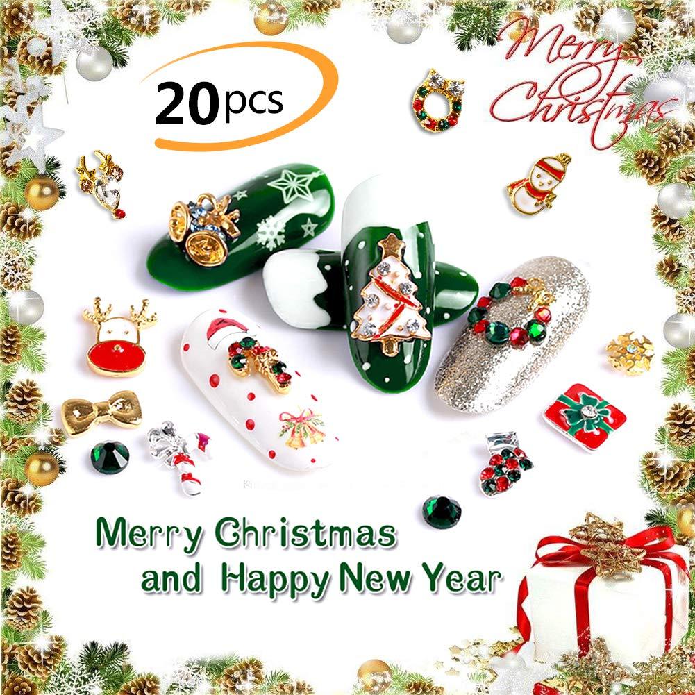 Phogary 20pcs Gioielli Lega di Natale per Decorazioni di Arte del chiodo - 3D Lusso Brillante Diamante Strass Lega Unghie Gemme di Arte Affascinante Moda Fai-da-Te Distintivo Pietre Arte del chiodo