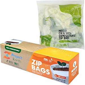Project Earth Compostable Zip Bags, 50 Count Gallon | Freezer, Sandwich, Food Storage & More | Resealable Lock | Eco Responsible Product |