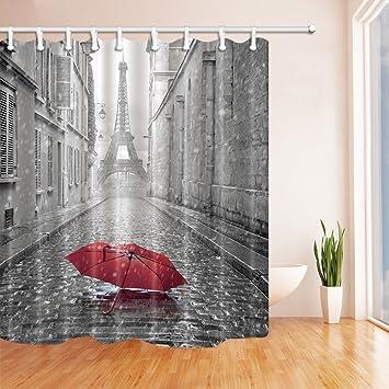 NYMB Paris France Decor Red Umbrella In Rain Eiffel Tower Shower Curtain 69X70 Inches Mildew Resistant