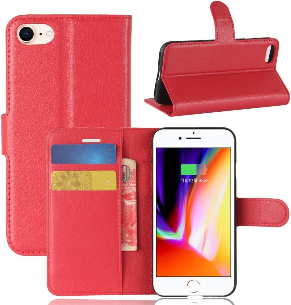 Fertuo Funda para iPhone SE 2020, Carcasa Libro con Tapa de Cuero Piel Wallet Case Flip Cover con Kickstand, Hebilla Magnetica, Ranuras para Tarjetas para Apple iPhone SE 2020 / iPhone 8/7, Rojo