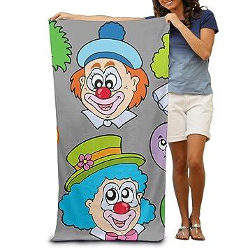 Bulk toallas de baño colorfunny payasos dibujos animados payasos globo colorido rojo nariz adultos toallas de playa de vacaciones de mar de soporte: ...