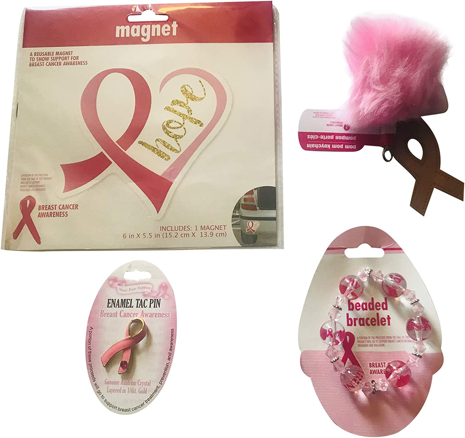 Amazon Com Breast Cancer Awareness Bundle Includes Magnet Tac Pin Beaded Bracelet And Key Chain Health Personal Care
