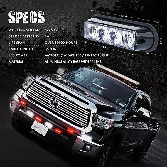 2 Pieces 52025-RB-2PC Xprite Red /& Blue 4 LED 4 Watt Emergency Vehicle Waterproof Surface Mount Deck Dash Grille Strobe Light Warning Police Light Head with Clear Lens